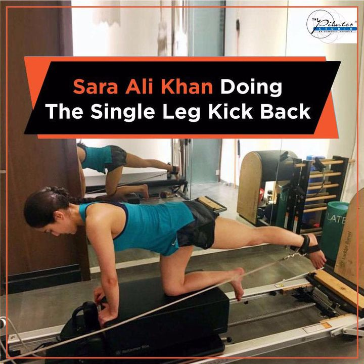 #FriyayMotivation- #SaraAliKhan in the midst of some serious workout at #ThePilatesStudio 🔥  She's doing the #SingleLegKickBack on the reformer.  It focuses on the core majorly, the obliques and the Gluteus!  Contact us for queries on: 9099433422/07940040991 www.pilatesaltitude.com