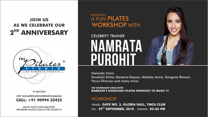 Ahmedabad!! Are you ready?!?💃🏻  Join us as we celebrate our 2nd anniversary! . A fun #Pilates workshop with the #OriginalPilatesGirl & #CelebrityTrainer - NamrataPurohit at the YMCA Club between 4pm - 6pm on the 29th of September'18.   Get your tickets NOW - http://pilatesahmedabad.in/paynow/  Hoping to see you all soon.  Let's #TrainSmart 😁💪🏼  Contact us for queries on: 9099433422/07940040991 www.pilatesaltitude.com