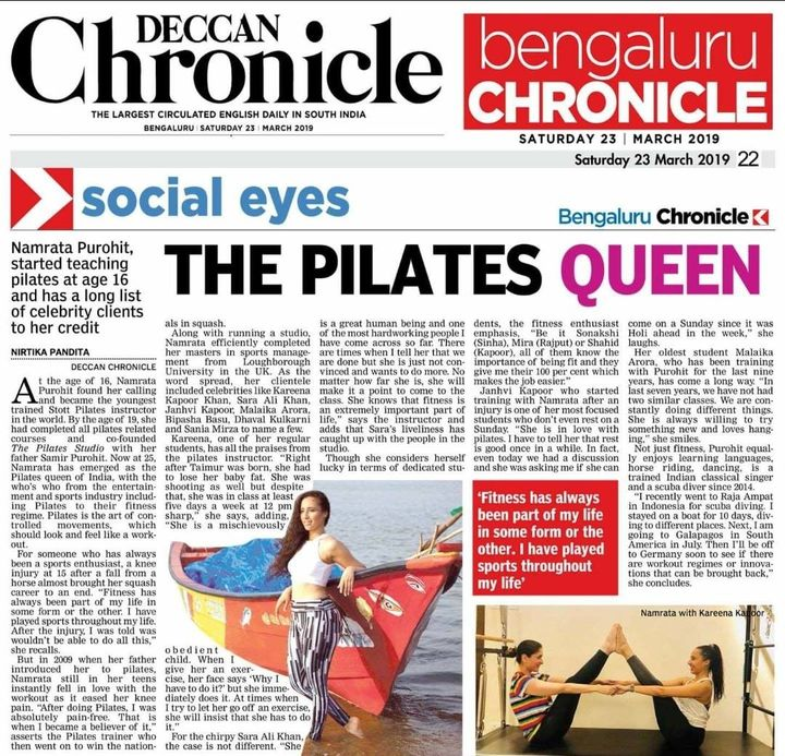 Our Pilates girl now reigns as the Pilates Queen. Be mesmerised by how, NamrataPurohit started her journey to being the Original Pilates Girl. Thank You Deccan Chronicle for this lovely article. ❤️  #PilatesGirl #NamrataPurohit #ThePilatesStudio