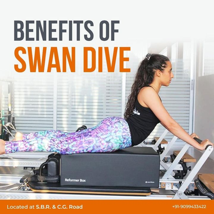 Our very own - #PilatesGirl in the lovely Swan Dive pose! 🔥It is a beautiful Pilates move which has many benefits. . . #SwanDive is a #Pilates exercise that works the back, abdominals, glutes, hamstrings, and hip extensors and also the shoulder stabilisers and scapular. It is an intermediate to advanced move that one must work up to.💪🏻 . .  Contact us for queries on: 9099433422/07940040991 www.pilatesaltitude.com . . #Pilates #ThePilatesStudio  #CelebrityTrainer #YoungestCelebrityInstructor #FitnessEnthusiast #Fitness #workout #fit #followtrain  #celebrity #InstaFit #FitnessStudio #Fitspo  #Workout #WorkoutMotivation #fitness  #pilatesgirl #pilatesbody  #followmeplease #igers #fitnessforever #workhard #workhardplayhard