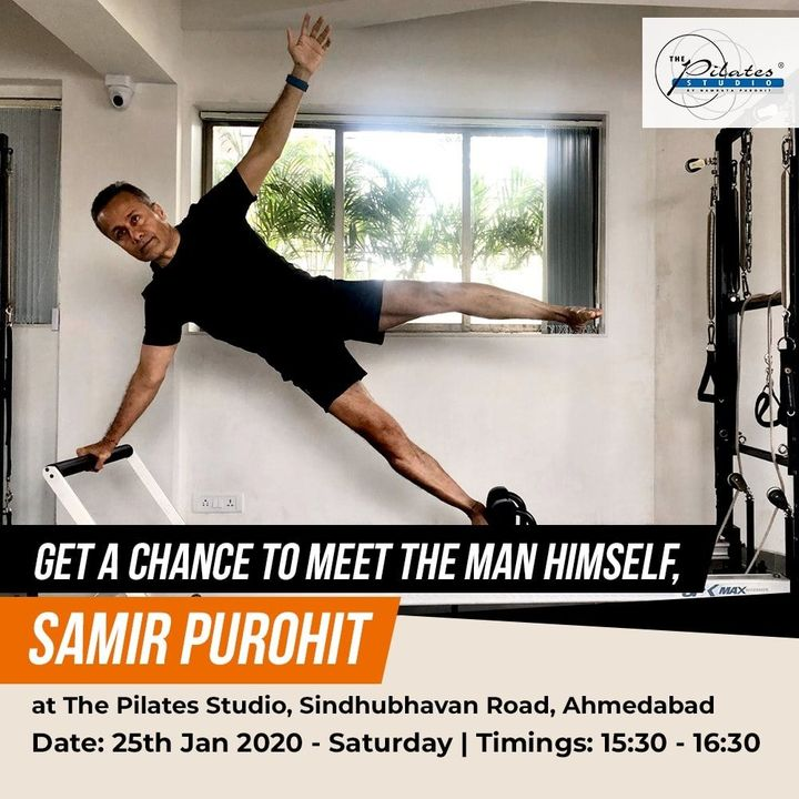 We can't wait to welcome Mr. @samir.purohit - The Pilates Guru and Co - Founder of #ThePilatesStudio by #NamrataPurohit on the 25th of January'20 between 15:30 - 1630 at @thepilatesstudioahmedabad S.B.R. . . Join us for a meet and greet session with the man himself.Are you ready, Amdavad? . . Contact us on: 9099433412/ 9099433422/07940040991 www.pilatesaltitude.com . . . #Pilates #ThePilatesStudio #BollyWood #CelebrityTrainer #YoungestCelebrityInstructor #FitnessEnthusiast #Fitness #workout #fit #tuesday  #bollywood #bollywoodstyle #celebrity #InstaFit #FitnessStudio #Fitspo  #Workout #WorkoutMotivation #fitness #pilatesgirl #pilatesbody #thepilatesstudiojaipur #celebritytrainer #gettingbettereachday #fitnessforever #workhard #workhardplayhard