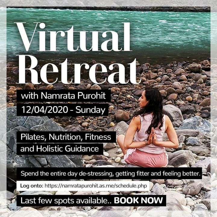 #1DayToGo: Take a break from the routine 🌞 Join us on a retreat from the comfort of your home. In these difficult times find your space to de - stress and find answers to a more wholesome living.  Link to the retreat - https://namratapurohit.as.me/schedule.php . . .  #Pilates #PilatesCommunity #Fitness #Stretch #WorkOut #ThePilatesStudio  #FitnessMotivation #InstaFit #FitnessStudio #Fitspo  #ThePilatesStudio #Strength #pilates #Workout #WorkoutMotivation #fitness  #india #igers #insta #fitnessjourney #beingfit #healthylifestyle #fitnessfreak #celebrity #bollywood #celebritytrainer #healthy