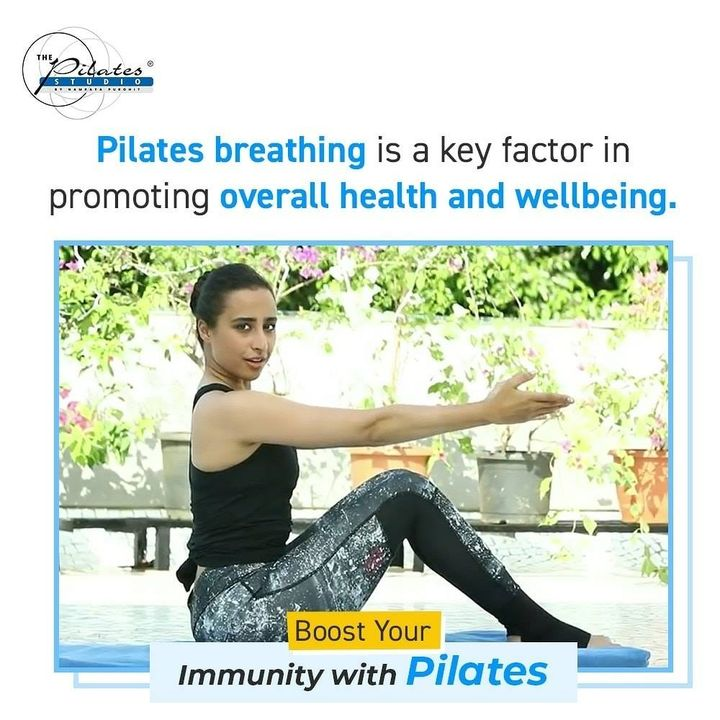 #BuildYourImmunity with #Pilates: Breathing fully, with attention and intention, centers us. It clears and calms the mind, reduces stress and paves the way for a greater, holistic experience. Working with the breath also brings a natural rhythm to a pilates movement enhancing the efficacy and experience of a workout. In Pilates, the breath leads the movement and gives it power. Most of our Pilates equipment and mat exercises are taught with breath patterns.  In Pilates exercises, the breath helps us lengthen and decompress the spine. The contraction of an exhale can be thought of as a gentle, lengthening squeeze of the trunk around the spine.  People think of deep breathing as a way to fill up their upper chest. In Pilates, however, we want to use all of the breathing space we have available to us. We therefore consciously use two related but slightly different types of breathing:  Diaphragmatic Breathing: This is deep-belly breathing where we bring the breath all the way into the body allowing the belly to expand with the inhale and deflate with the exhale. Diaphragmatic is a