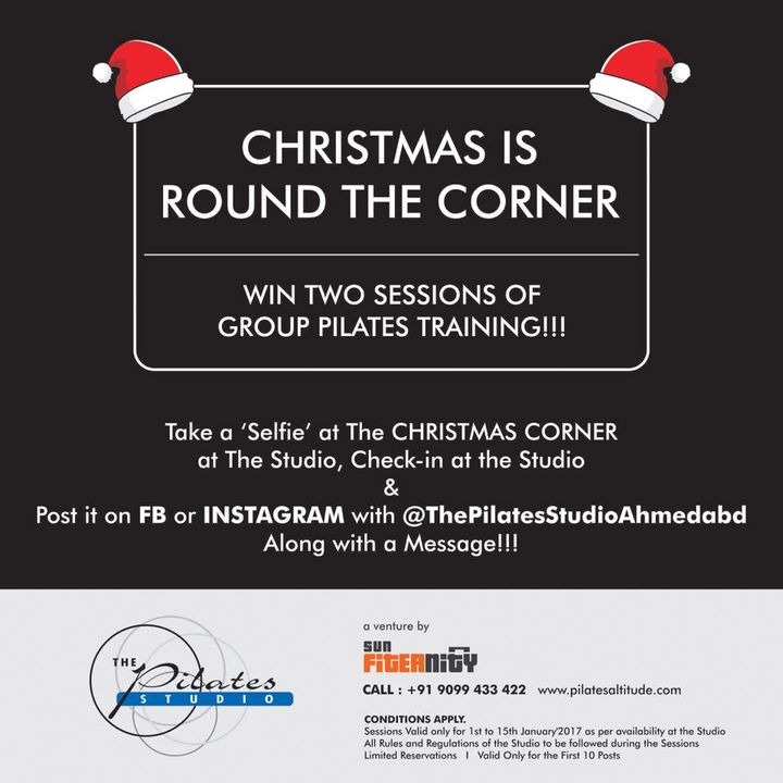 Get Fit this Christmas!!! All you have to do is - Just click a selfie at Christmas corner @thepilatesstudioahmedabad  Post it in FB or Insta & Tag Us along with a message :)   #pilatesonchristmas #santaselfie #freepilatesclasses #pilatesmakesushappy