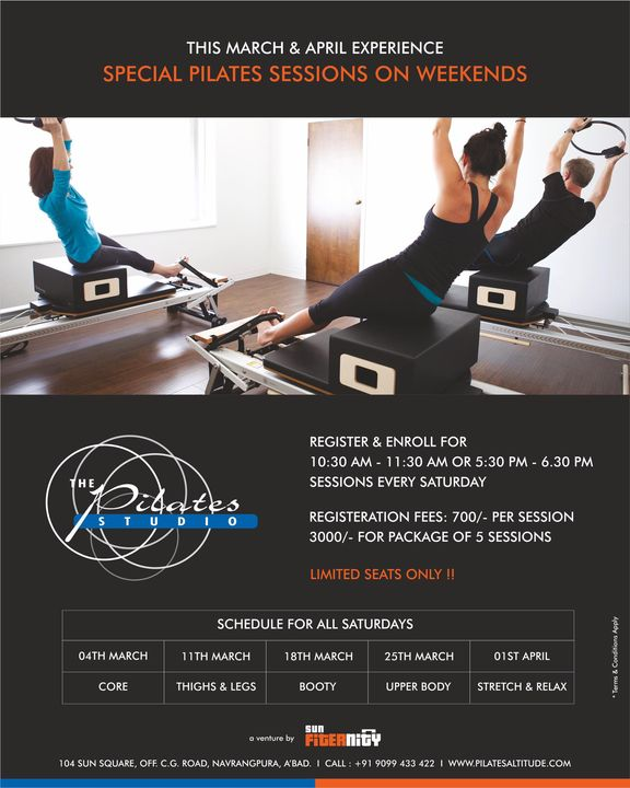 Summer is Here!!! We are happy to announce Special Pilates Sessions only on Weekends. Limited Seats only, Book yours Now. Call 9099433422 !