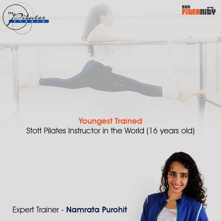 Expert Trainer - NamrataPurohit  She is the Youngest Trained Stott Pilates Instructor in the World as well as now officially the first ever certified 'The Pole Studio' Pole Fitness and 'Boogie Bounce' Instructor in India!! Double whammy! 😎  Trained perfectly at the age of 16, Namrata Purohit with her hardcore fitness experience has trained a number of Bollywood celebrities, sports personalities and industrialists.