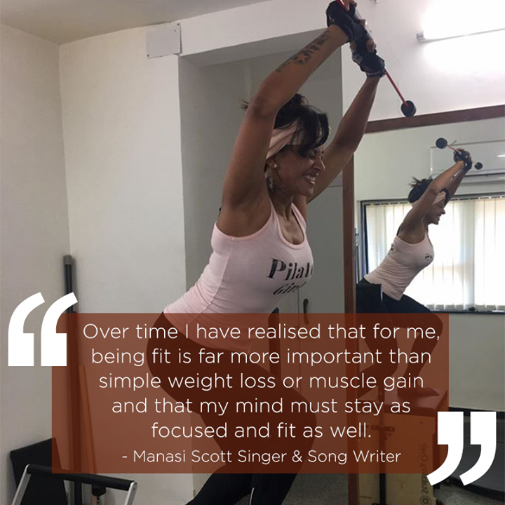 "#ClientDiaries: Thank you Manasi Scott for your wonderful feedback and educating our audience with the best!  Here's what she has to say:  ""Over time I have realised that for me, being fit is far more important than simple weight loss or muscle gain and that my mind must stay as focused and fit as well.  #Pilates is one of those exceptional fitness regimens that actually allows you to be incredibly strong right from your core, while at the same time builds focus and muscular strength. I lift heavier in the gym, push harder when I run, have discovered and strengthened muscles I did not know I had.  Amazingly, at the end of it all I find my mind is as calm and strong, almost akin to a Yoga session. I find Pilates fun, interesting, reformative and intensely challenging.   With my coach NamrataPurohit, who goes out of her way, to not just give me a workout but also, to understand my body and mind, I find that I actually miss Pilates when traveling and try and take some basic floor workouts.Pilates has changed the way I feel and view fitness and I plan to make it a life-long exercise regimen.""  -Manasi Scott  (Singer & Song Writer)  Contact us for queries on: 9099433422/07940040991 http://www.pilatesaltitude.com"