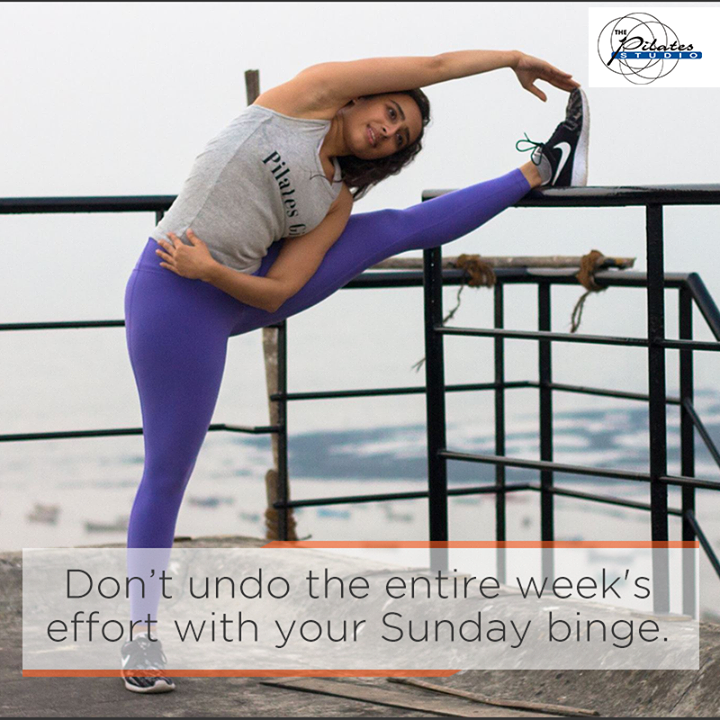 Don't undo the entire weeks effort with your Sunday binge. #ModerationIsKey  Contact us for queries on: 9099433422/07940040991 http://www.pilatesaltitude.com/
