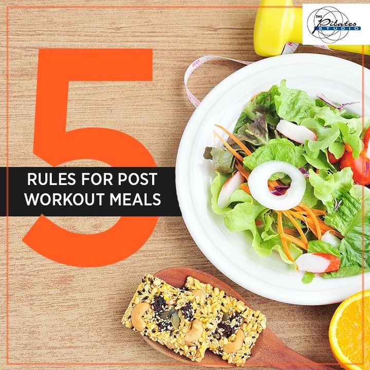 Follow these Rules for post workout meals to promote muscle growth & aid in recovery. Here they are:   1.Keep it light  2.Eat within 30-40 mins  3.Avoid Alcohol  4.Eat plenty of nutrient-rich produce  5.Rehydrate  Contact us for queries on: 9099433422/07940040991 http://www.pilatesaltitude.com/