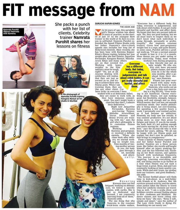 In The Asian Age (Delhi Edition) today!   A FIT message to all the Fitness Buffs from the #CelebrityFitnessTrainer - NamrataPurohit herself on how to be Fit and Fab and to keep your fitness regime Safe Simple & Smart! - http://bit.ly/2z7O5q5