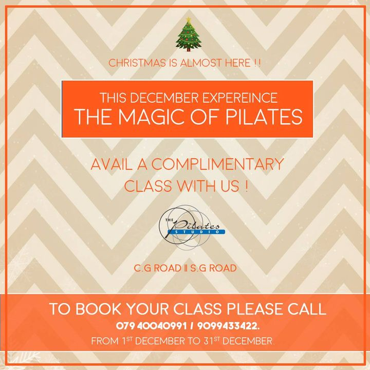 It's that time of the Year again! 🎄  Let's Get into the Festive Spirit - The season of joy, festivities and good times! ⭐️  Avail a complimentary Pilates Class at The Pilates Studio - Ahmedabad! Hurry! Don't miss this chance 🤸🏼‍♀️😁  For queries and bookings, please contact us: 9099433422/07940040991 www.pilatesahmedabad.in