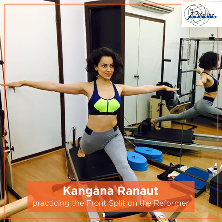 The #QueenOfBollywood - #KanganaRanaut practising the Front Split on the Reformer!  Want to know some of the benefits of a Front Split?  Here they are:  1. Improves controlled motion originating from the centre of the Body  2. Develops Pelvic Lumbar Stabilization  3. Strengthens the Hip Flexors, Adductors and Hamstrings  4. Develops Scapular Stabilization  5. Improves Balance  6. Improves Posture  For queries and bookings, please contact us: 9099433422/07940040991 www.pilatesahmedabad.in
